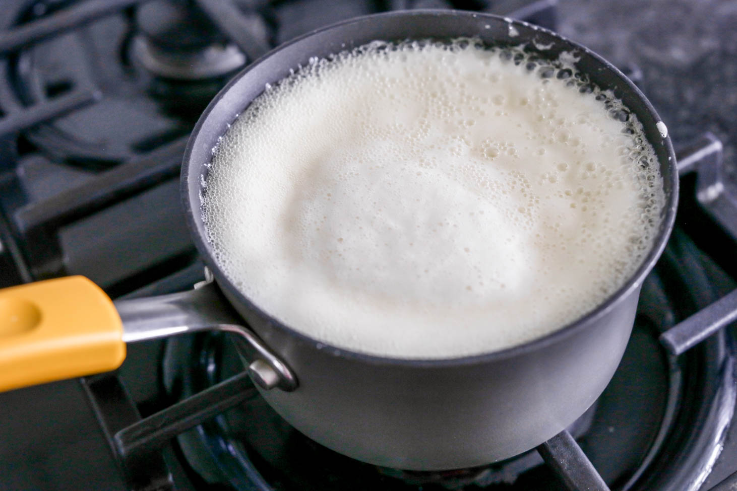 Homemade buttermilk syrup in a saucepan