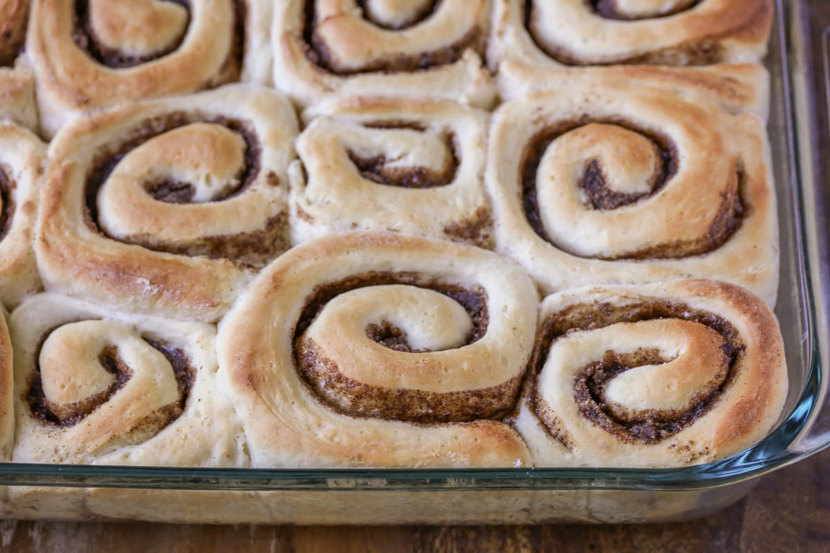 cinnamon rolls before putting icing on