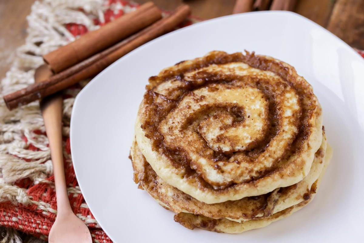 cinnamon swirl pancakes on a plate