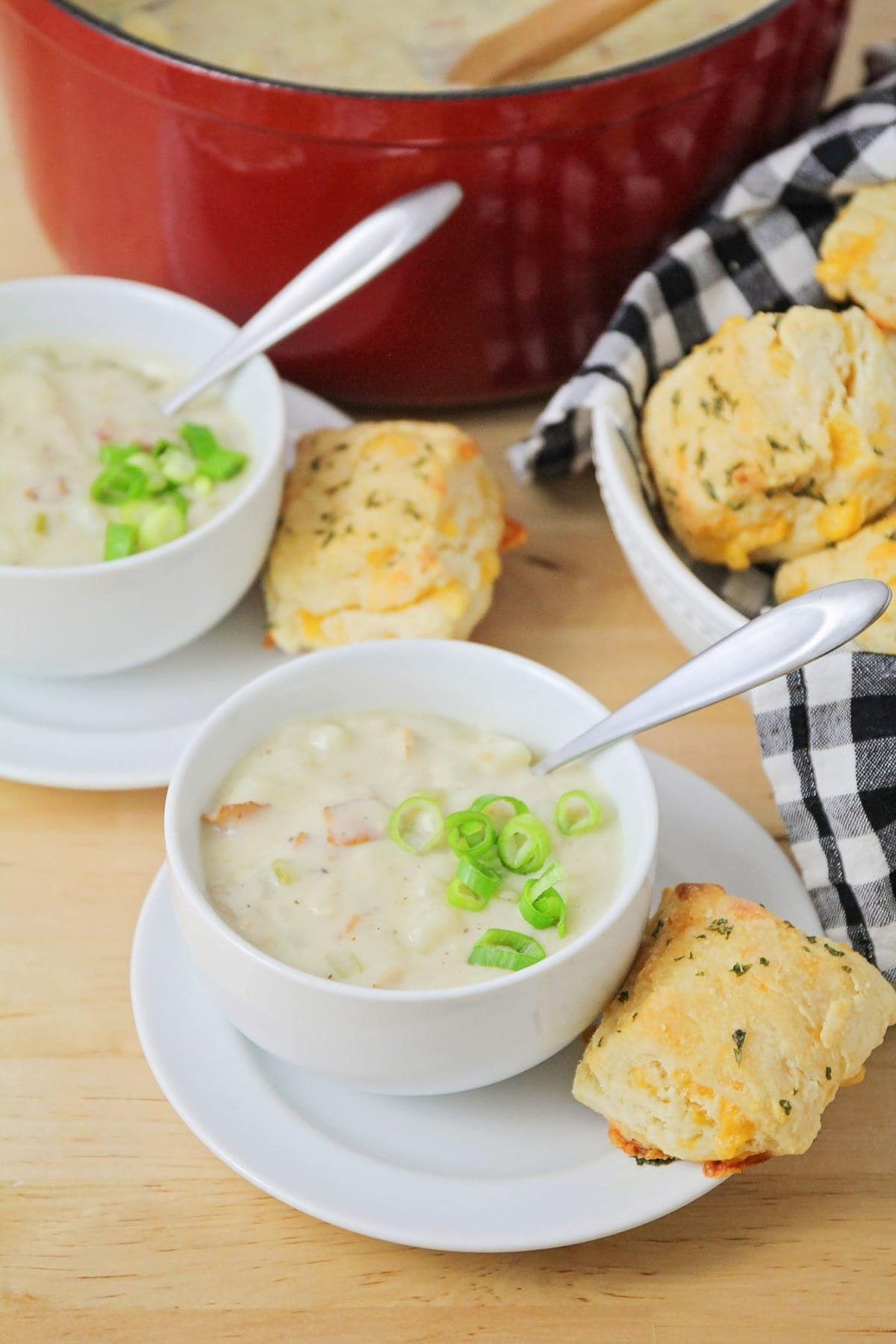 homemade clam chowder topped with green onions