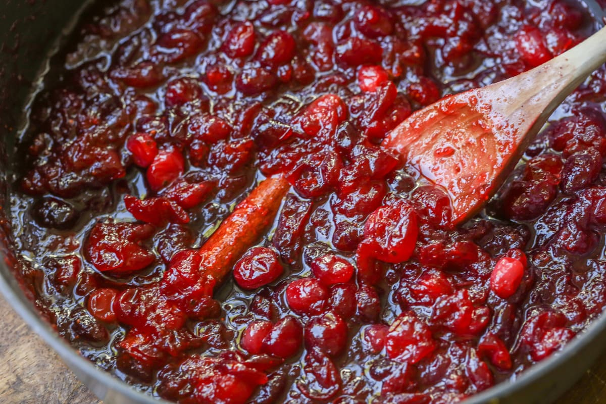 fresh cranberry sauce in a pan