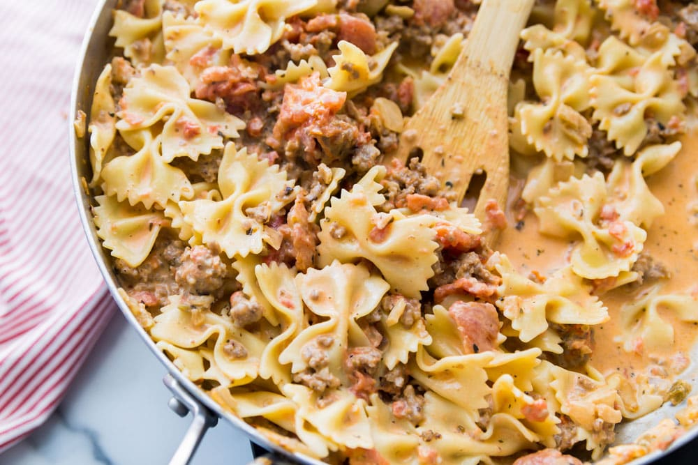 Italian sausage with bowtie pasta