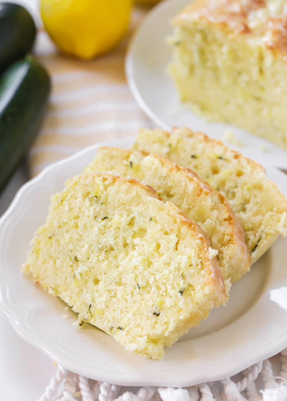 Lemon zucchini bread recipe on plate