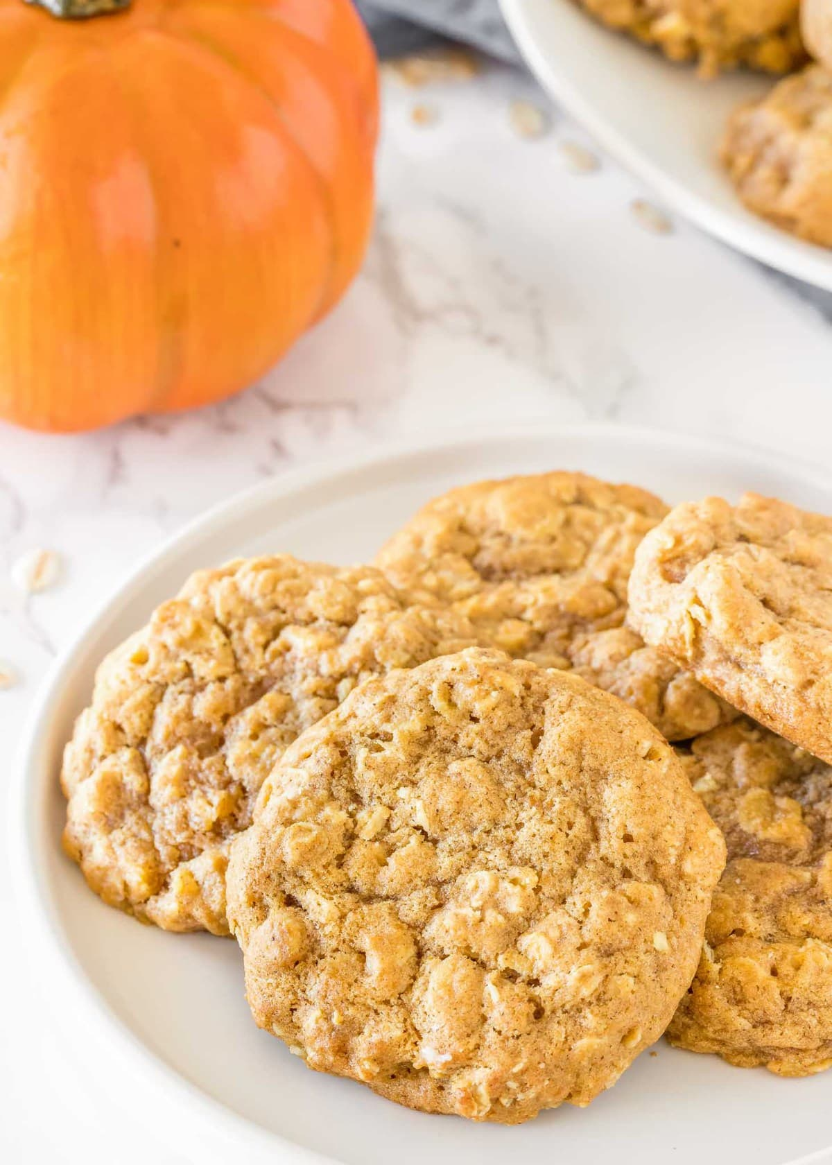 Pumpkin oatmeal cookie recipe on white plate
