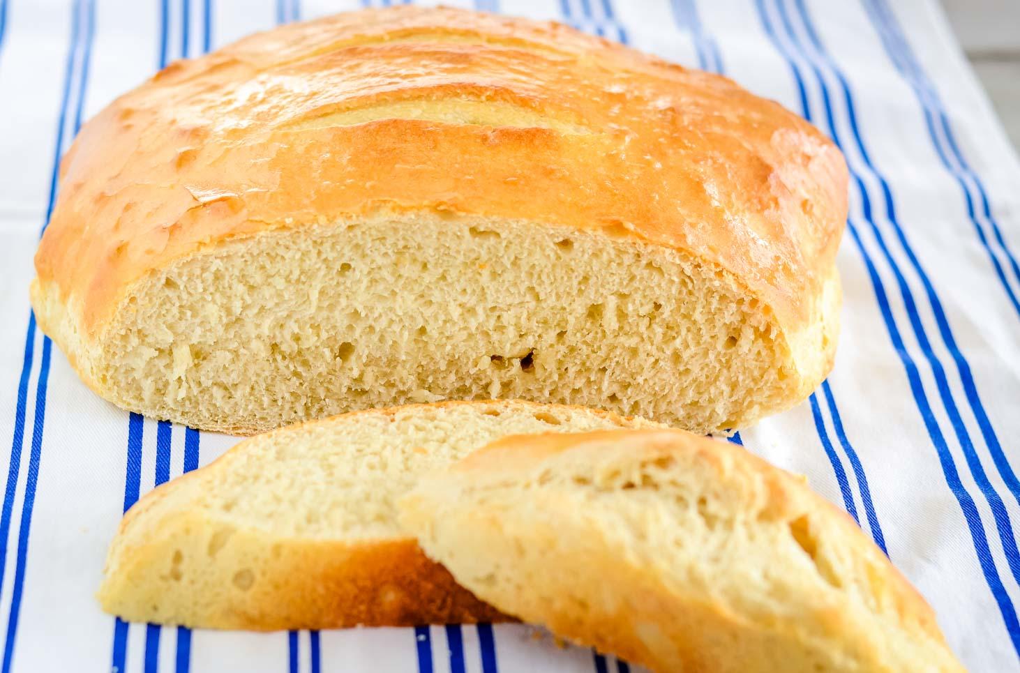 Cut loaf of sourdough bread