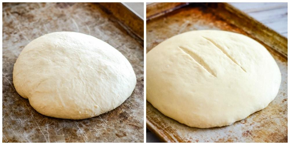 Bread dough on a metal baking sheet