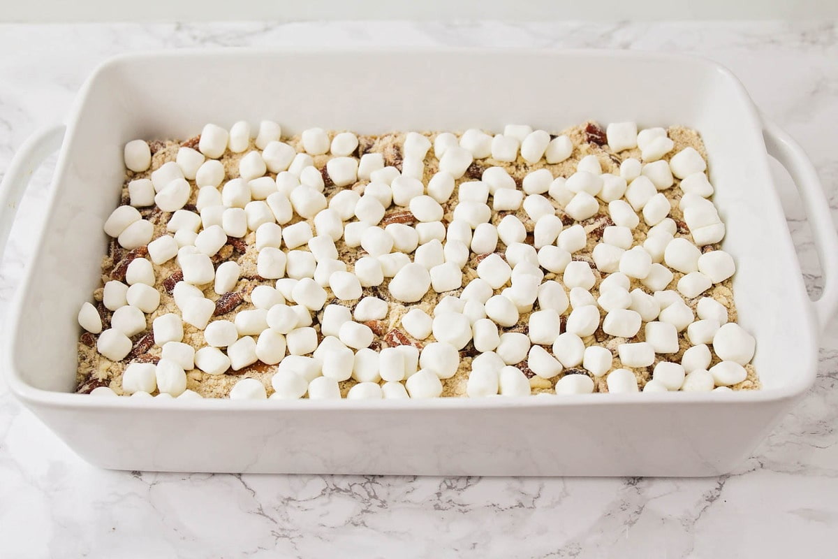 sweet potato casserole with marshmallows and pecans streusel