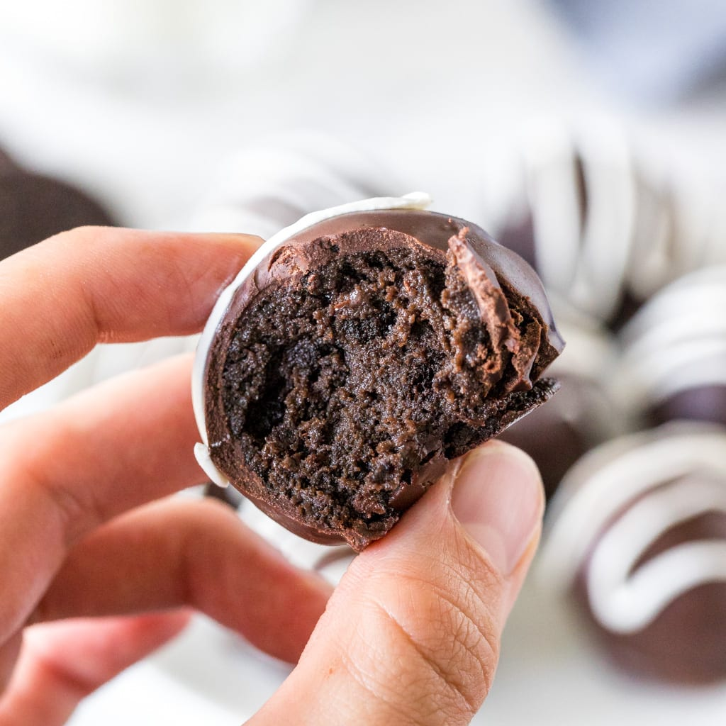 Close up of a bite of an Oreo truffle