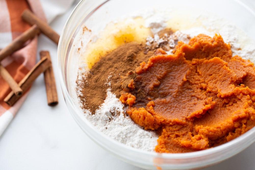 Pumpkin cupcake ingredients in bowl