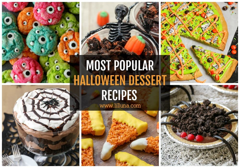 Collage of halloween treats and desserts
