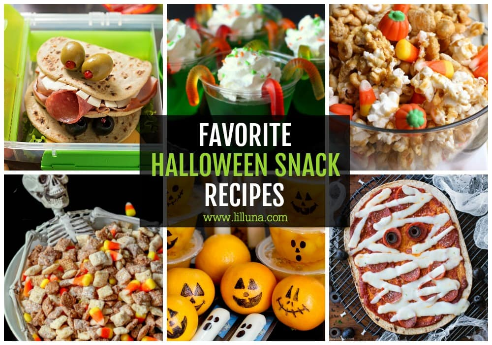 Collage of Halloween snacks