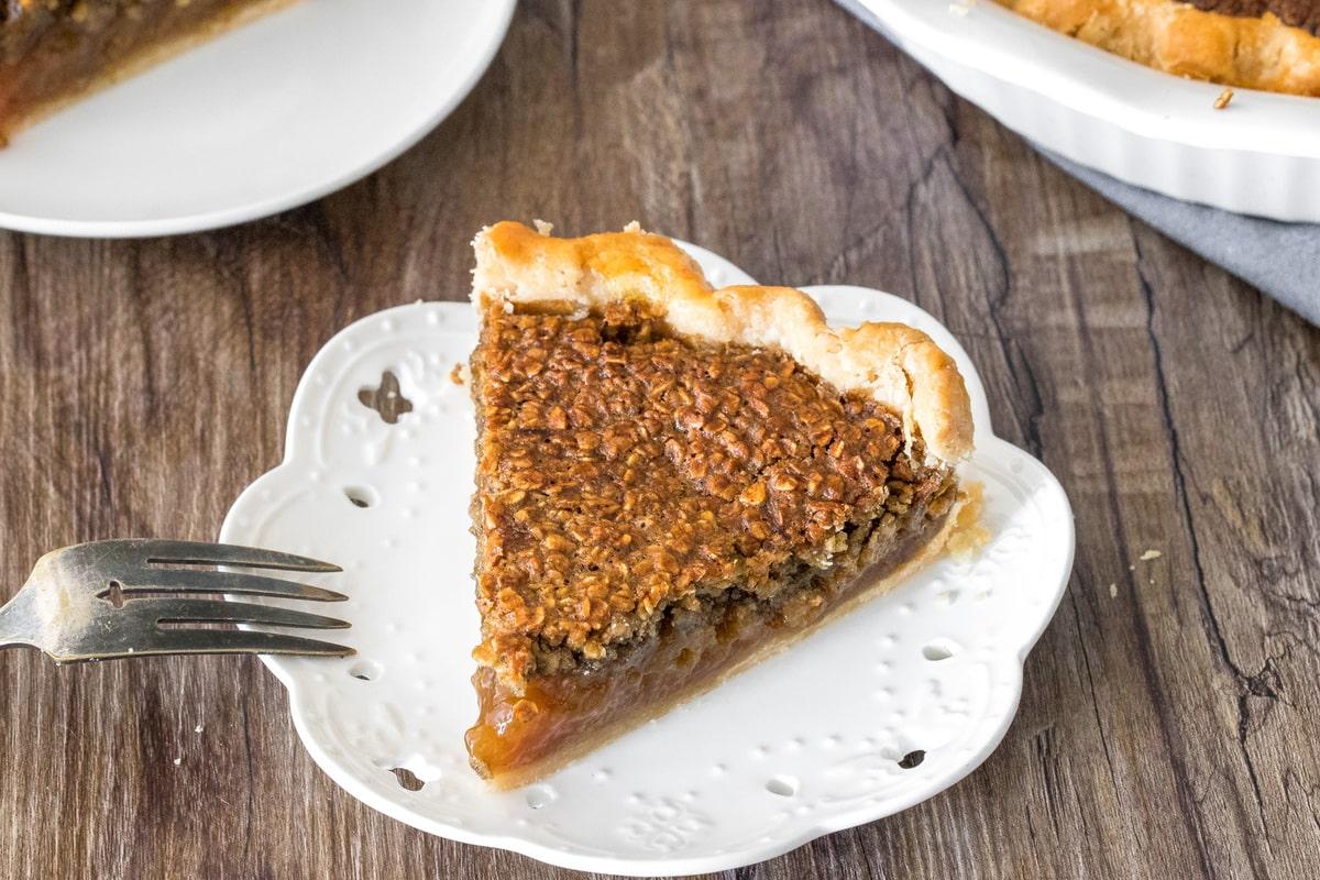 A slice of brown sugar oatmeal pie.