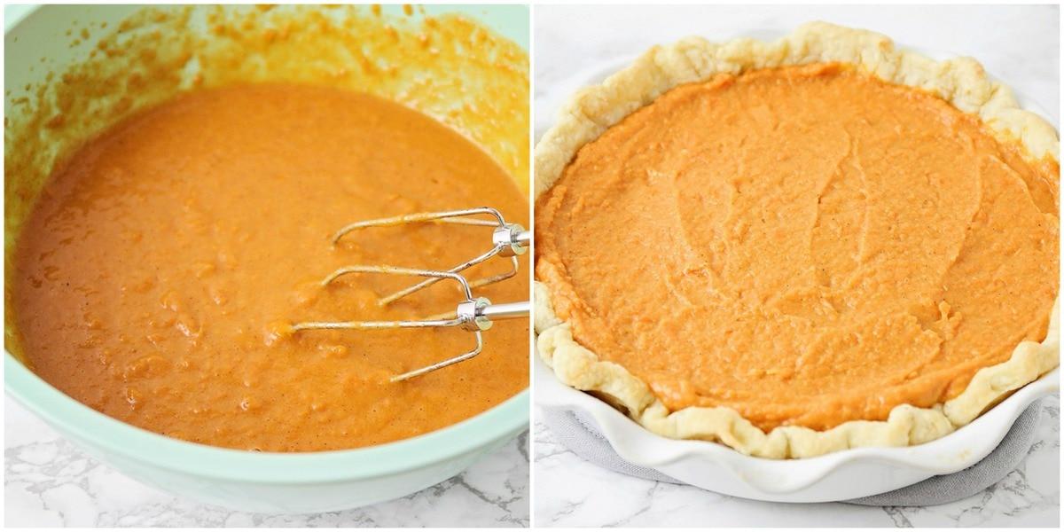 sweet potato pie filling inside crust