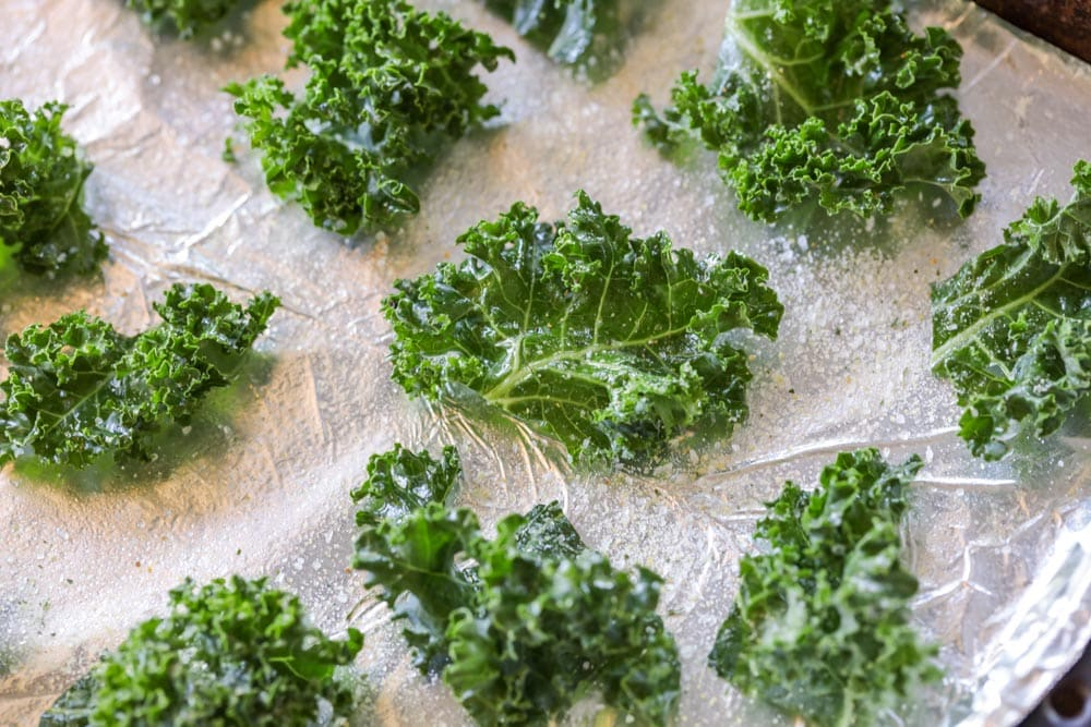 Pieces of kale with oil and salt
