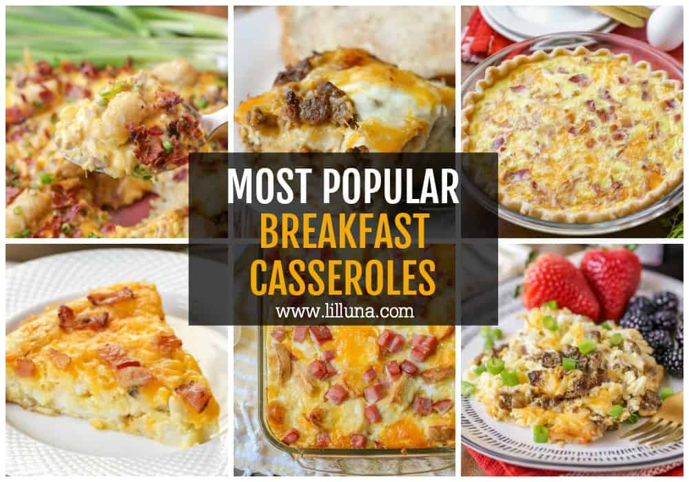 Collage of breakfast casseroles