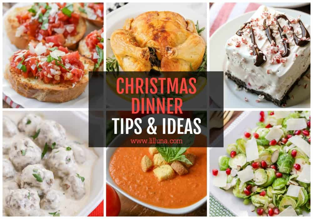 Collage of Christmas dinner ideas