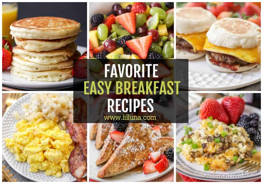 Collage of easy breakfast ideas