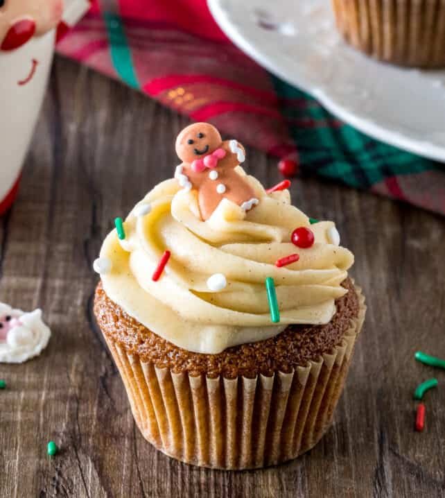 A gingerbread cupcake with cinnamon cream cheese frosting - the perfect Christmas cupcake recipe