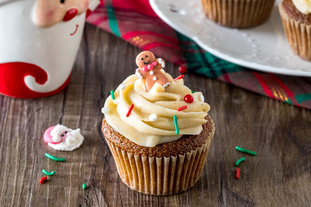 A gingerbread cupcake with cinnamon cream cheese frosting