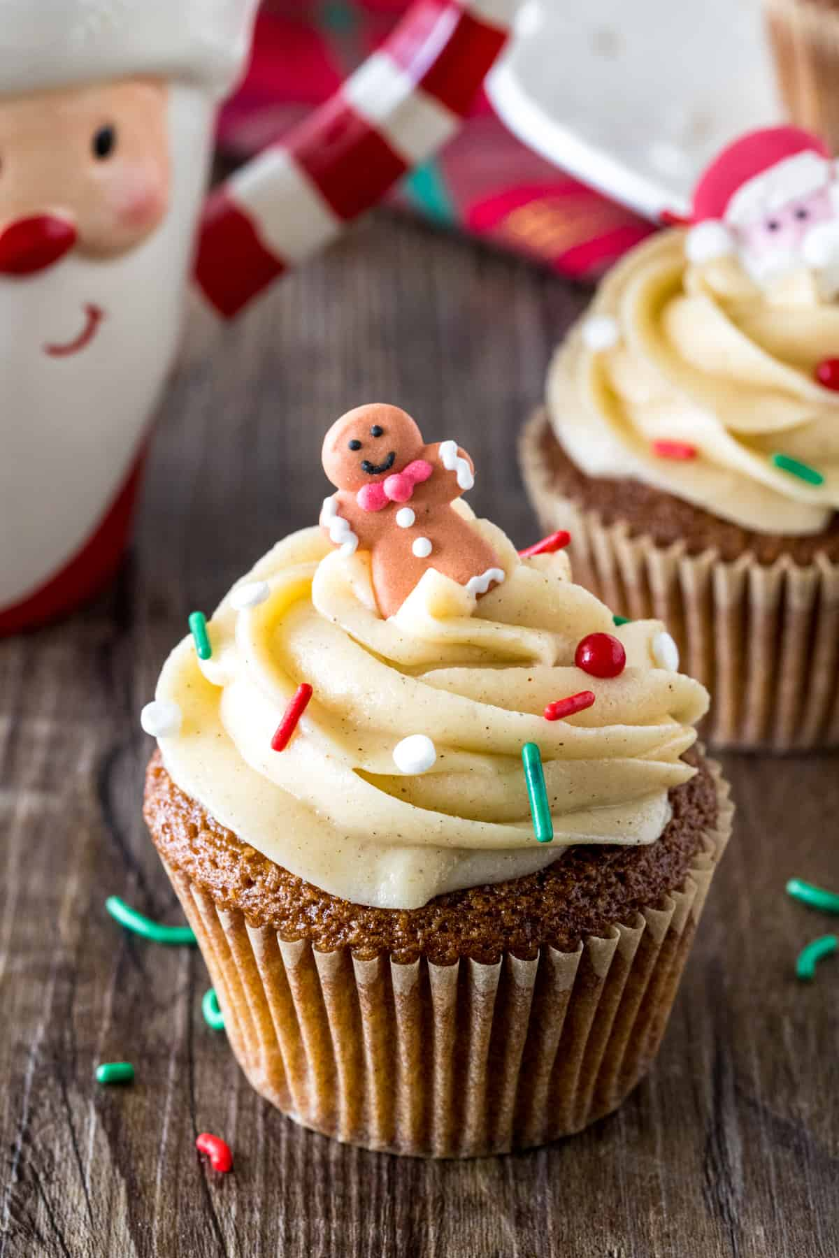 Gingerbread cupcakes made with cake mix and topped with cinnamon cream cheese frosting