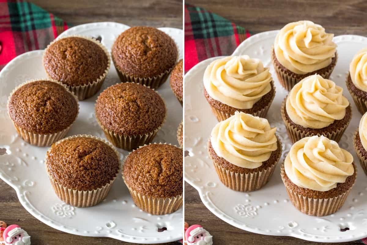 Topping gingerbread cupcakes with cinnamon cream cheese frosting