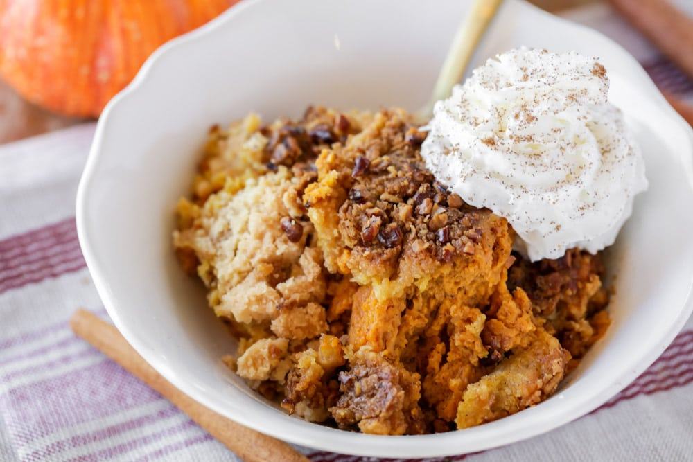 Easy Pumpkin cobbler with whipped cream