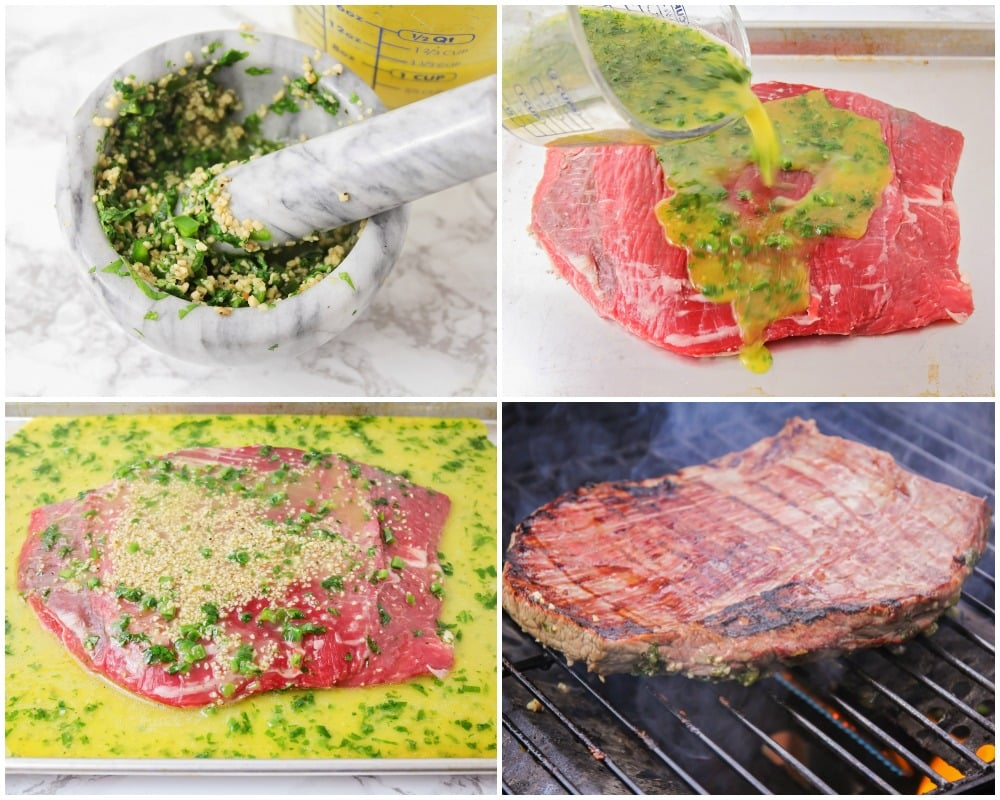 Process pictures for how to make carne asada tacos