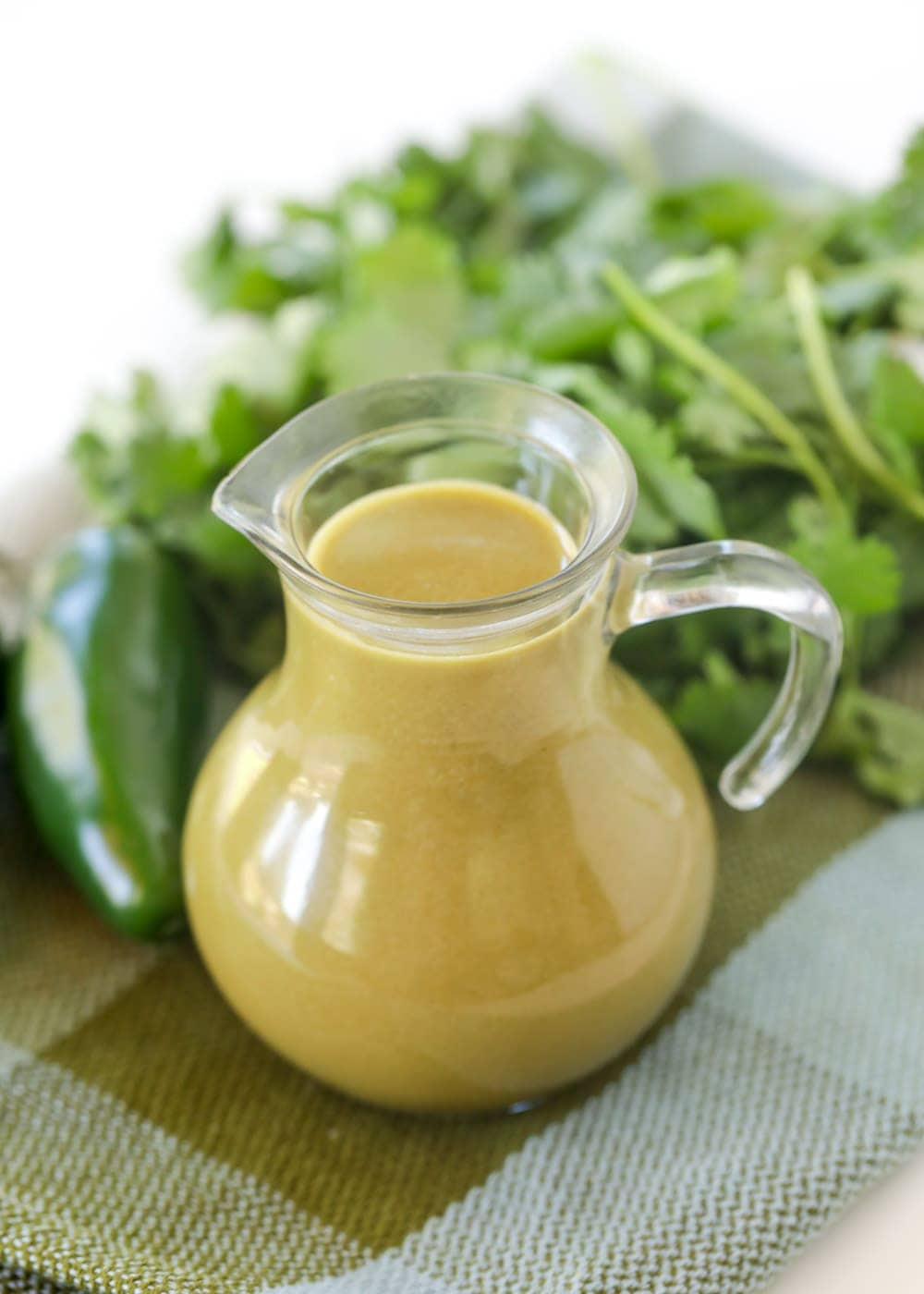 Cilantro ranch dressing recipe in pouring cup