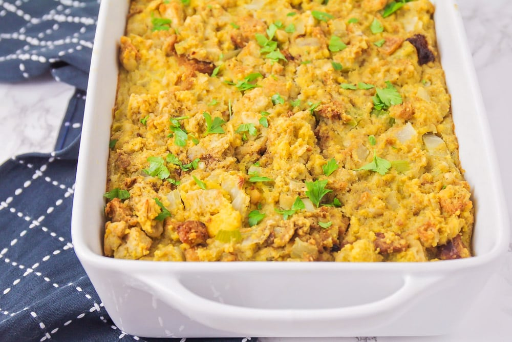 Cornbread stuffing topped with garnish