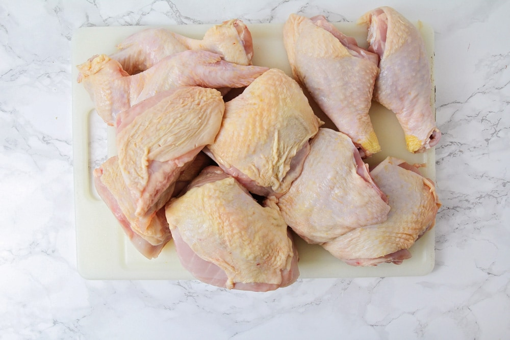 Chicken cut in pieces to fry