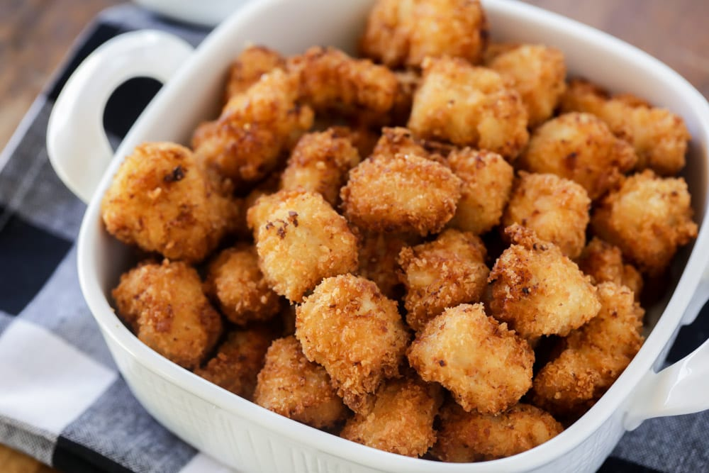 Popcorn chicken in dish