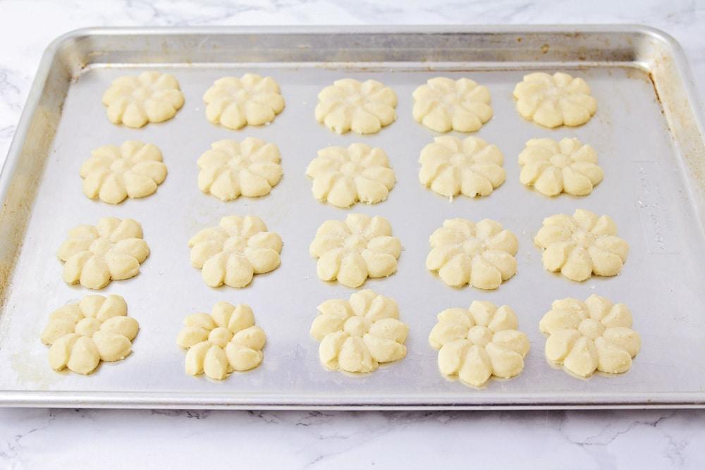 Best shortbread cookies on a baking sheet