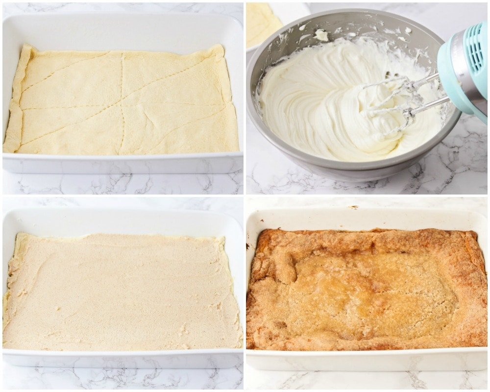 Step by step pictures of making a sopapilla cheesecake recipe
