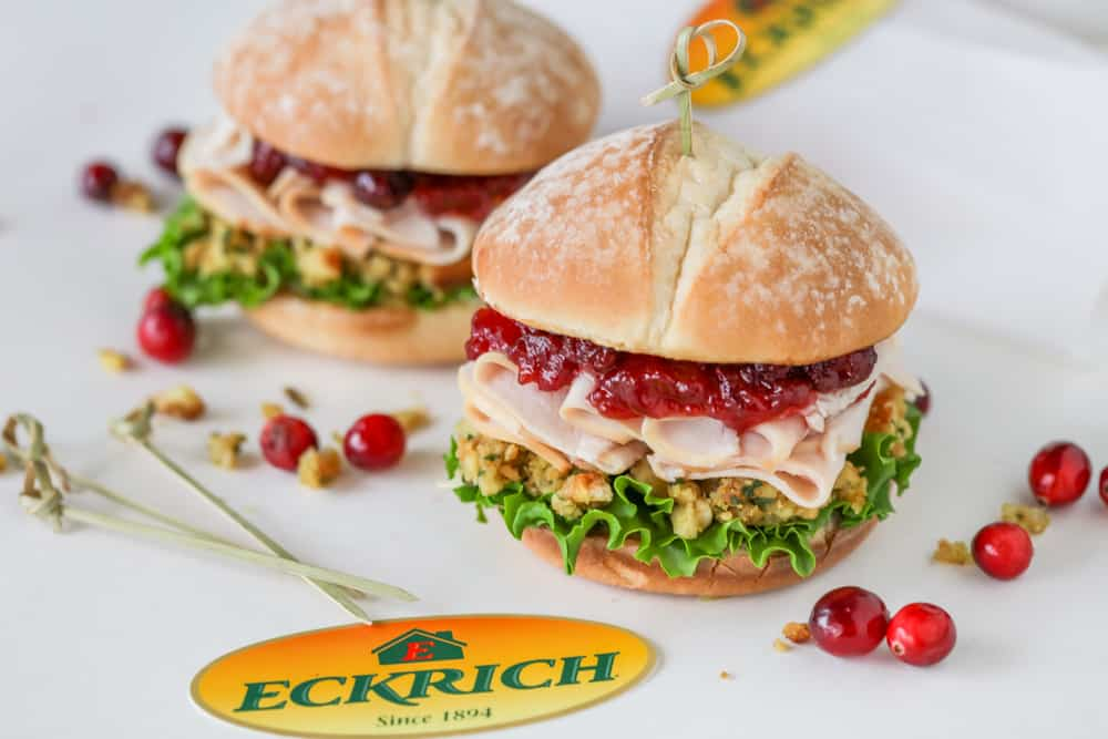 Turkey Cranberry and Stuffing sandwich using Eckrich Oven Roasted Turkey Breast