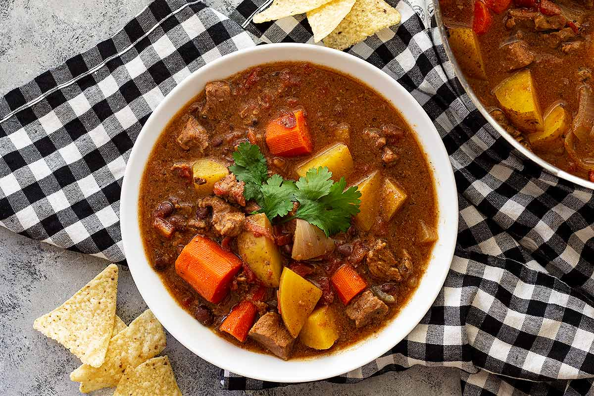 Mexican Beef Stew in a white bowl