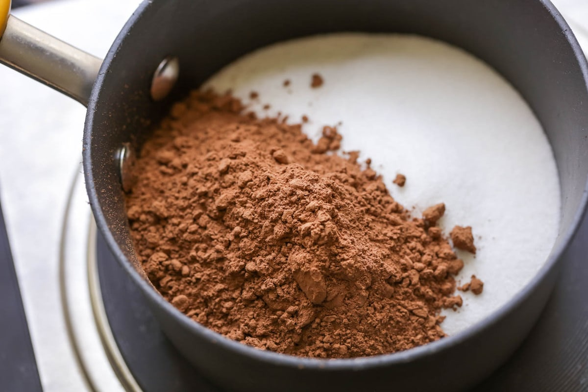Ingredients for chocolate syrup recipe in a saucepan