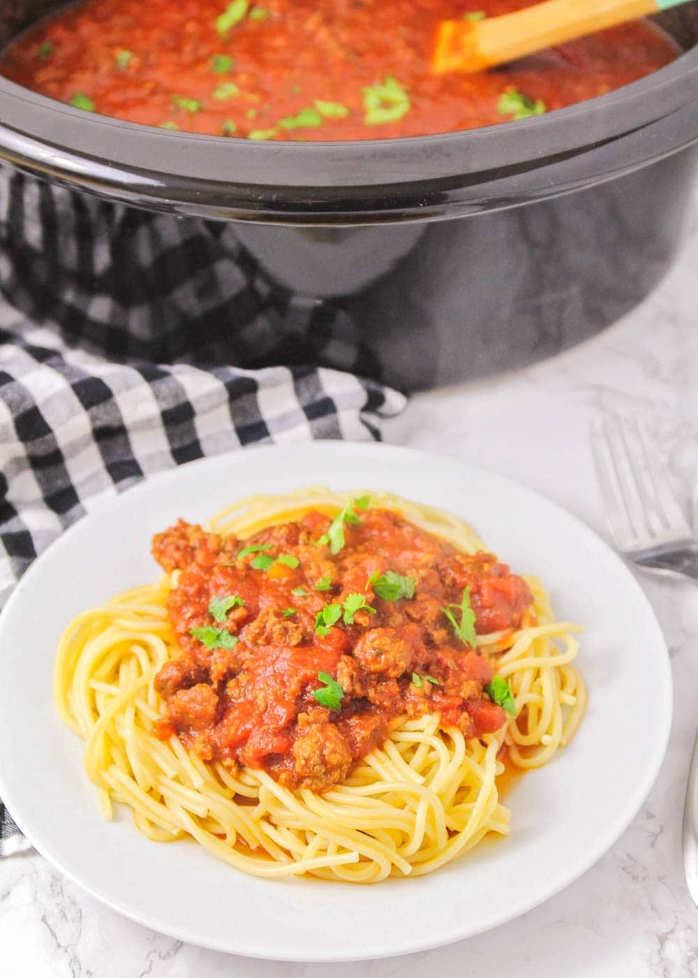 Crock Pot Spaghetti Recipe on a white plate