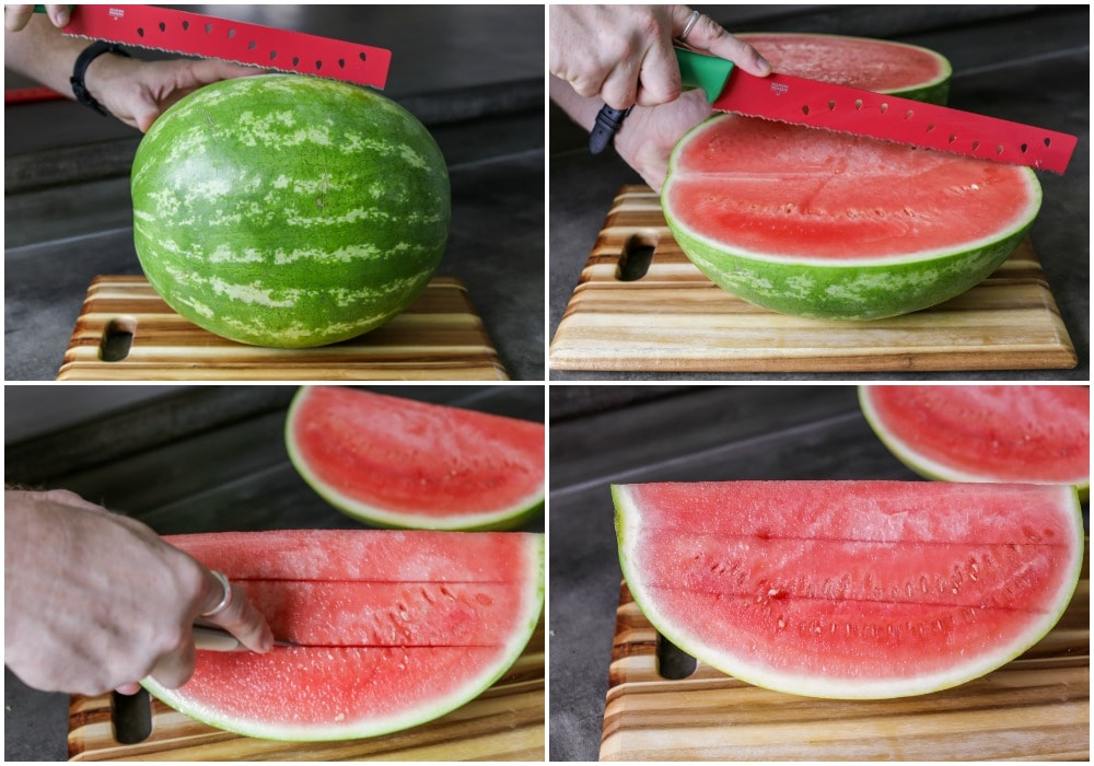 Step by step pictures of how to cut a watermelon into cubes