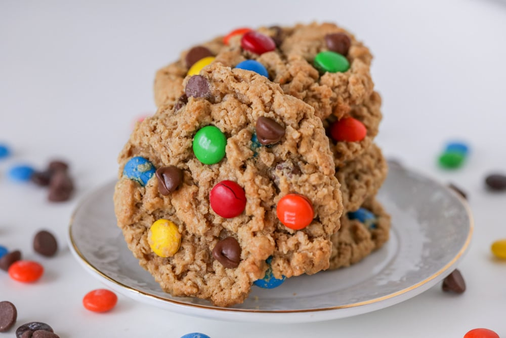 Stack of Monster Cookies on a plate