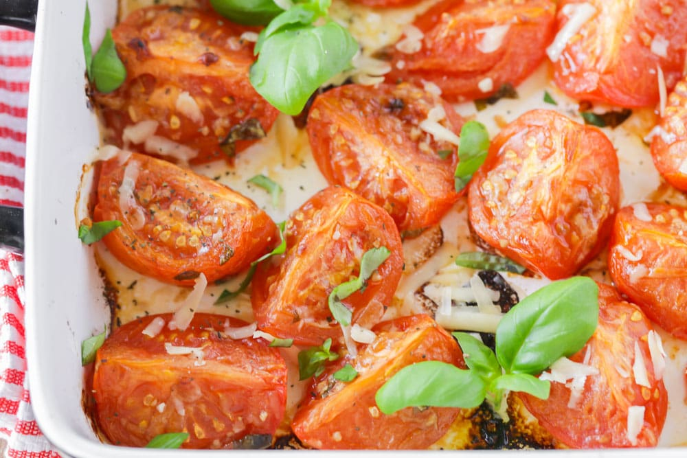 Roasted Tomatoes with fresh basil and parmesan cheese on top