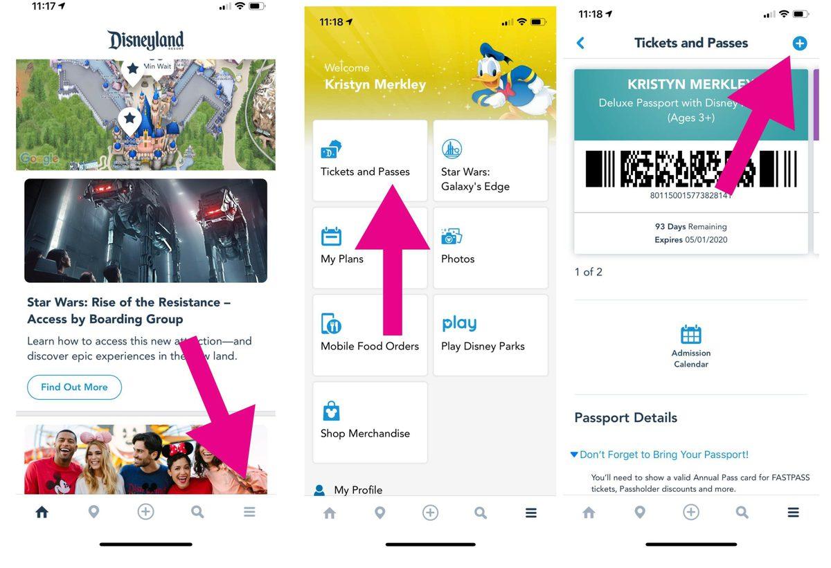 How to link tickets in Disney app