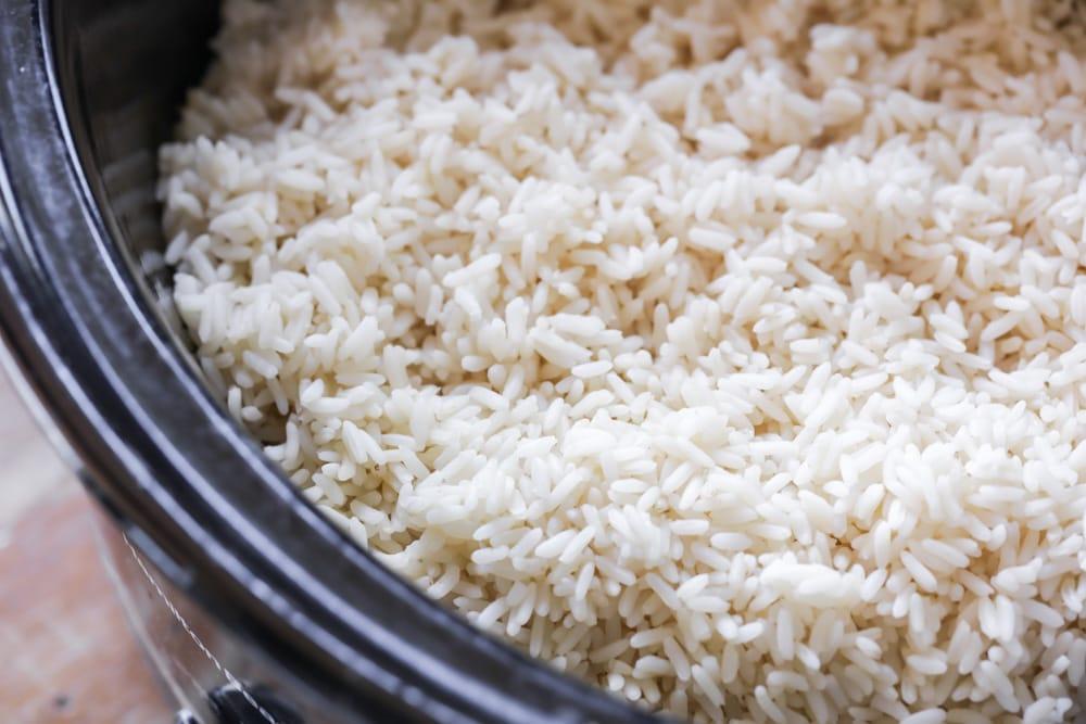 Close up of crock pot rice