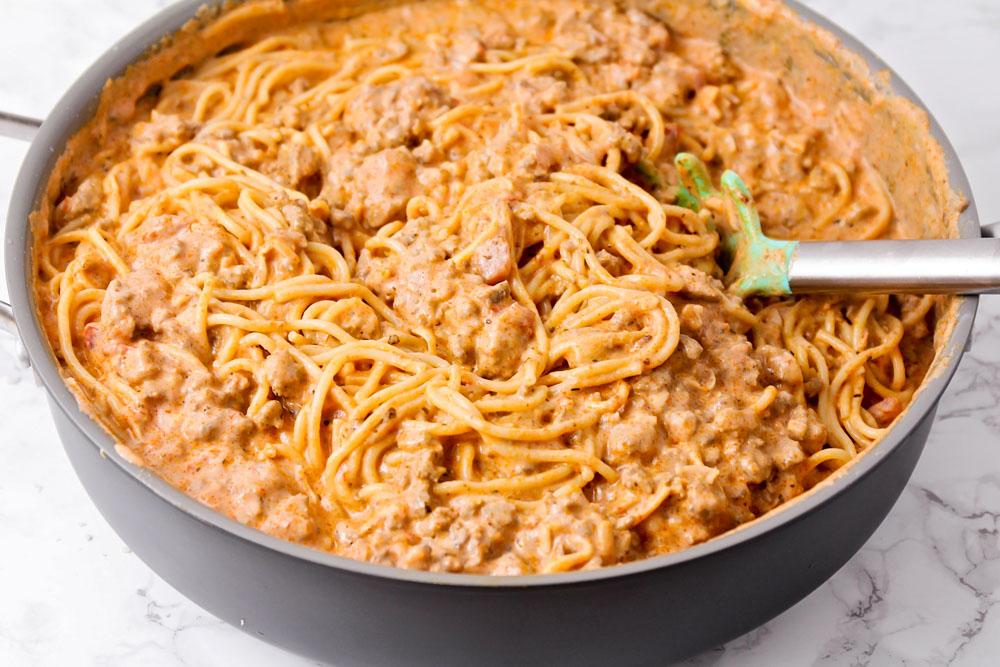 Spaghetti casserole filling in a skillet