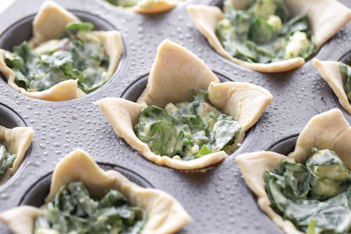 Puff pasty filled with spinach and filling