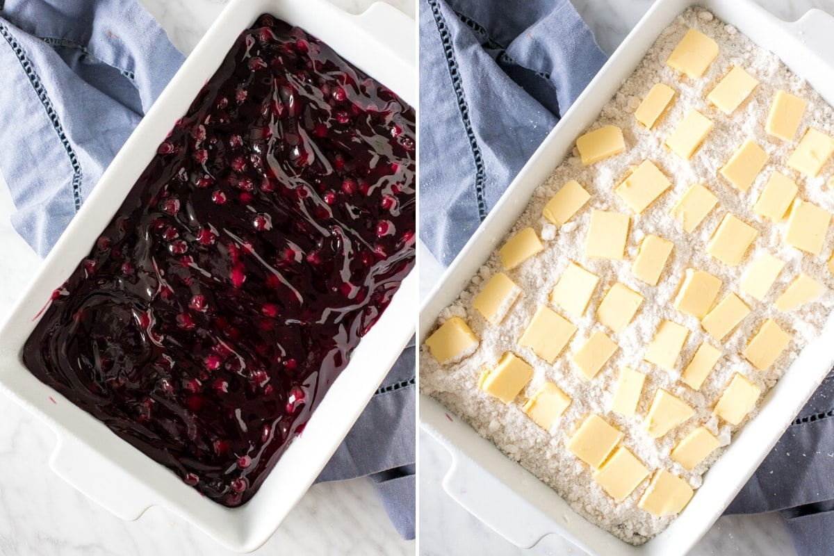 2 step by step photos of how to make a blueberry dump cake recipe