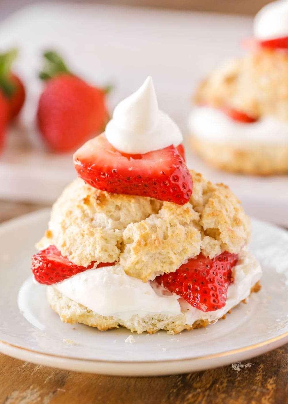 Close up of a strawberry shortcake using bisquick