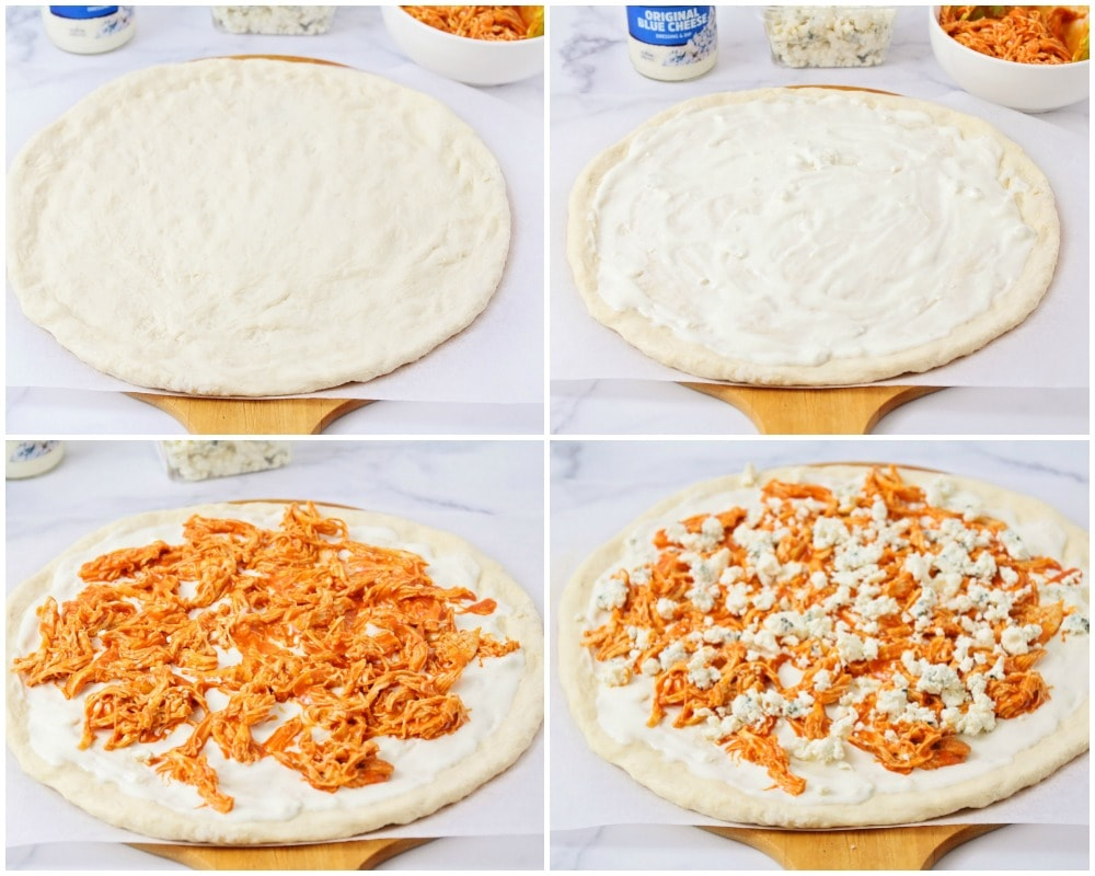 Step by step photos of how to make buffalo chicken pizza