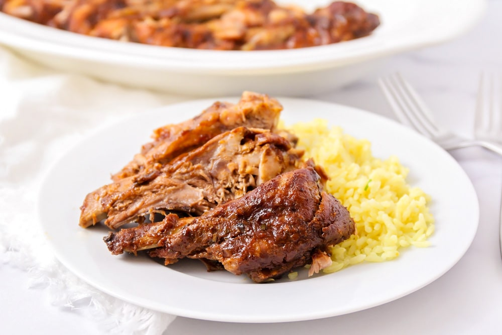 Crock pot ribs on a white plate