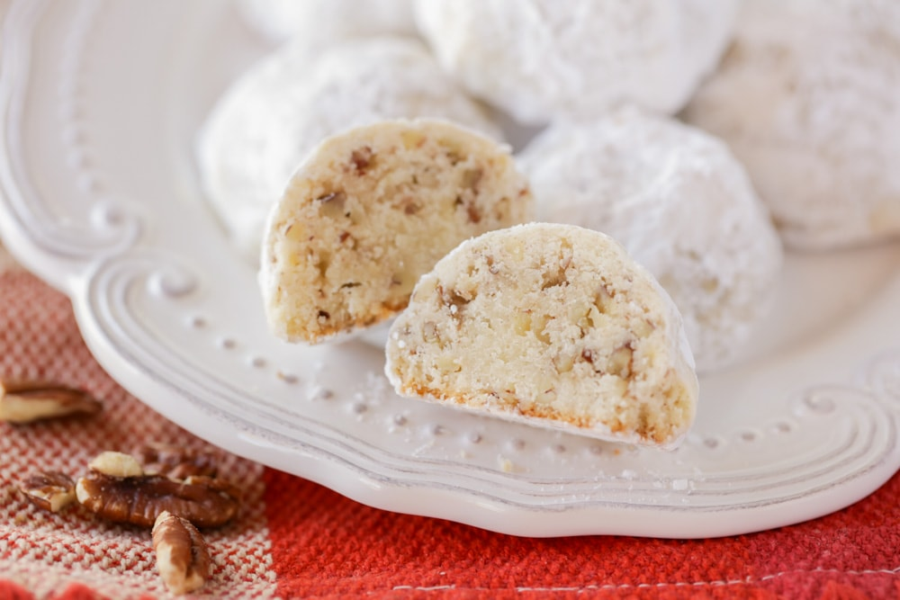 Mexican Wedding Cookies on a white plate