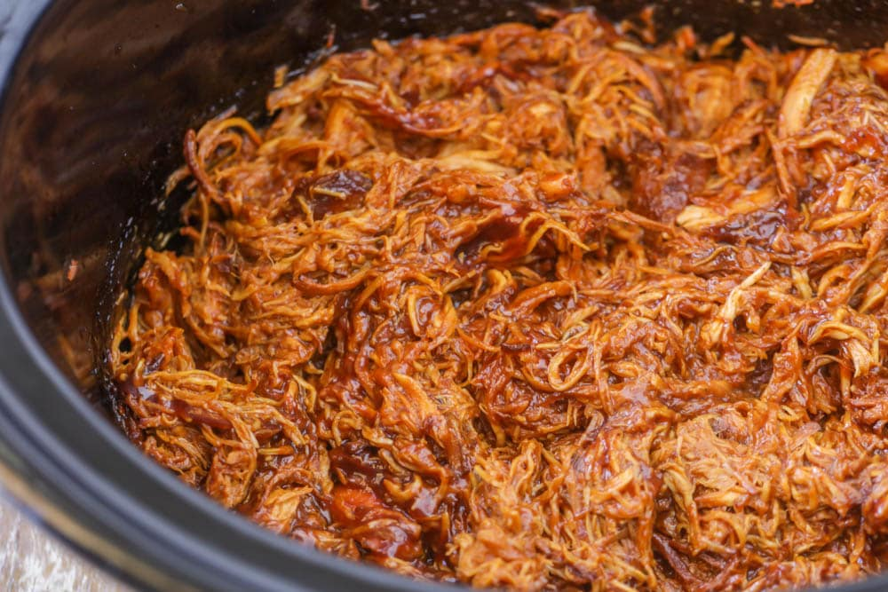 Crock pot pulled chicken in slow cooker